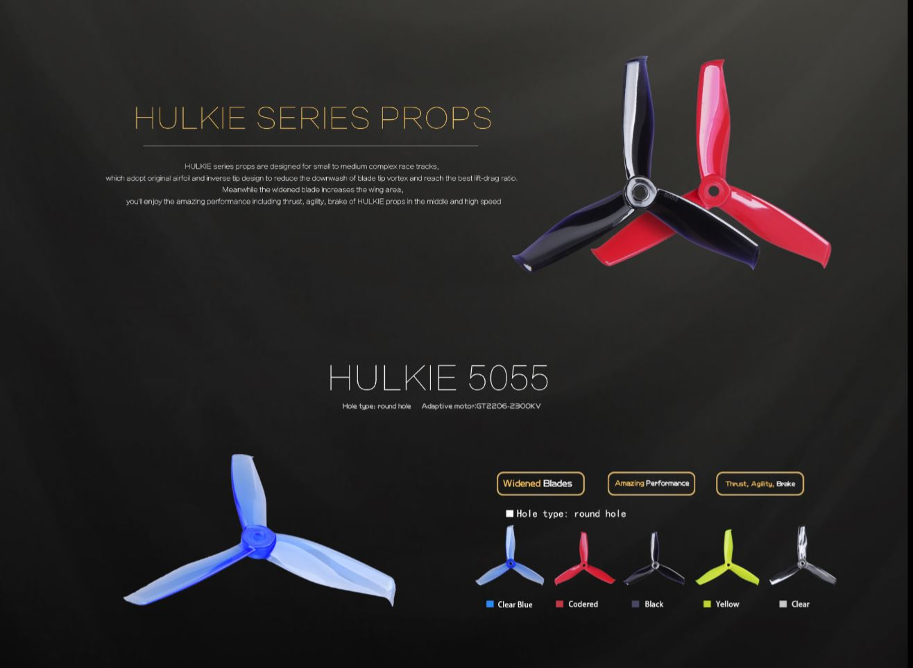 X Gemfan Hulkie Durable High Efficiency 3 blade 5055-3 propeller